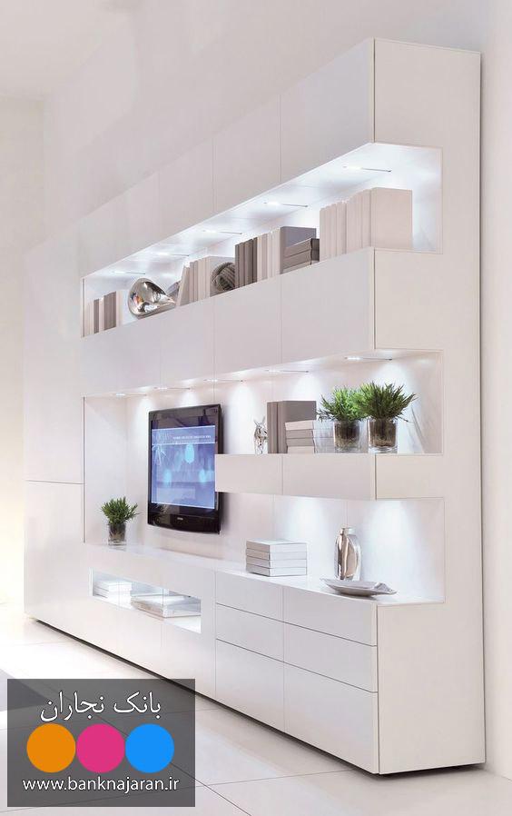 میز تلویزیون سفید های گلاس