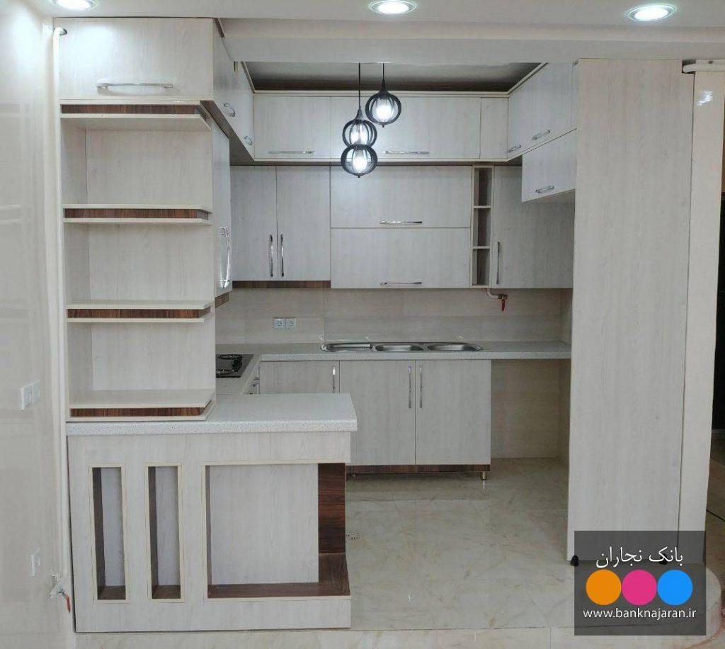 کابینت آشپزخانه کوچک طرح چوب راش