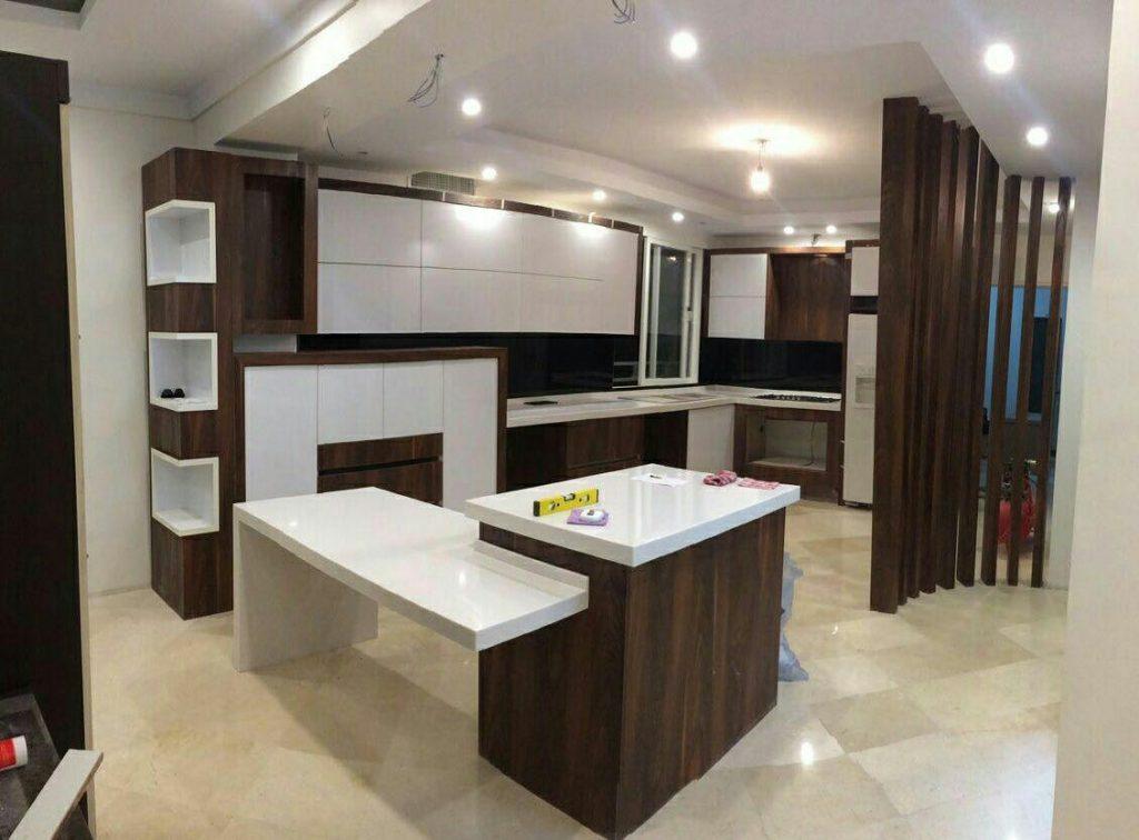 کابینت سفید طرح چوب مدرن