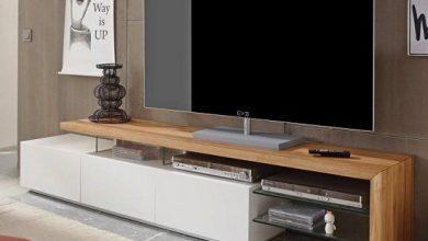 Photo of میز تلویزیون مدرن از جنس چوب ، شیشه و ام دی اف سفید