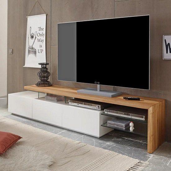 میز تلویزیون مدرن از جنس چوب ، شیشه و ام دی اف سفید