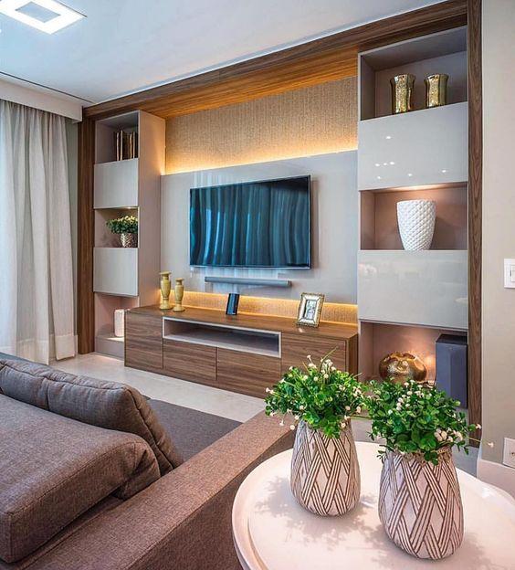 میز تلویزیون مدرن سفید طرح چوب روشن