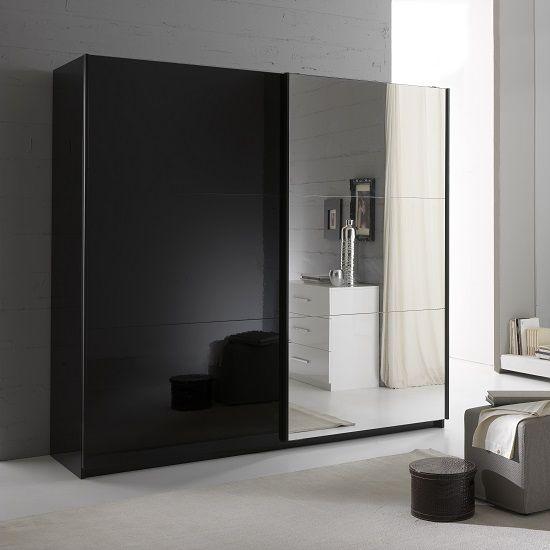 کمد دیواری مشکی و آینه