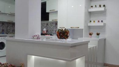 Photo of 4عکس از آشپزخانه با کابینت مدرن سفید هایگلاس و اپن حجمی