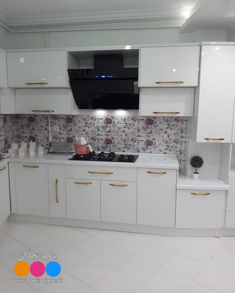 کابینت آشپزخانه سفید های گلاس ایرانی