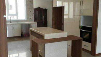 Photo of کابینت مدرن مینیمال سفید طرح چوب ایرانی با جزیره