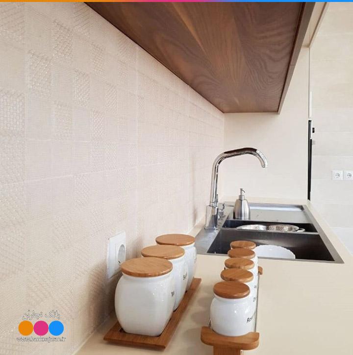 مدل کابینت آشپزخانه با ام دی اف طرح چوب