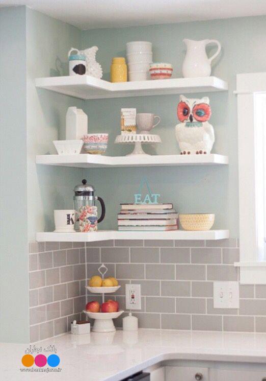 تزیین طبقات آشپزخانه با وسائل دکوری