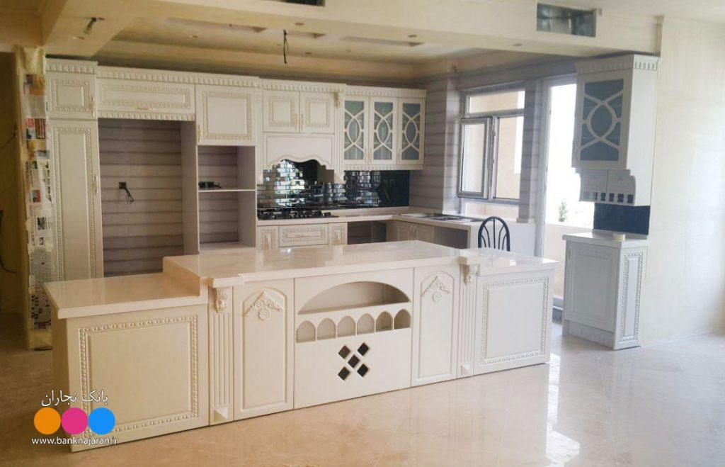 مدل کابینت آشپزخانه ممبران سفید 2