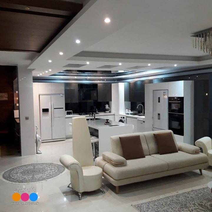 کابینت آشپزخانه مدرن سفید طوسی هایگلاس