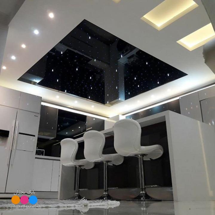 مدل کابینت آشپزخانه مدرن سفید طوسی هایگلاس