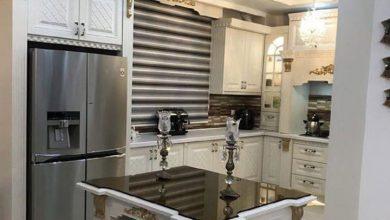 Photo of آشپزخانه کوچک ایرانی با کابینت ممبران سفید و طلایی