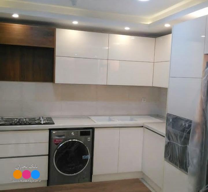 کابینت مدرن با سینک سفید