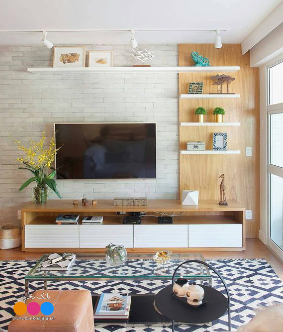 میز تلویزیون سفید طرح چوب جدید