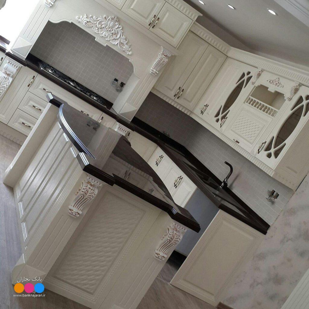 عکس کابینت آشپزخانه ممبران سفید 2