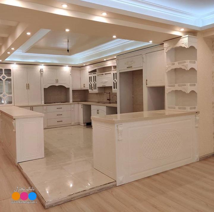 آشپزخانه ایرانی با کابینت سفید ممبران 2