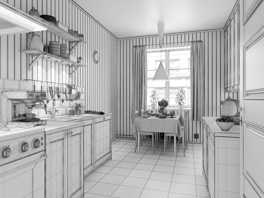 طرح سه بعدی آشپزخانه