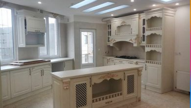 Photo of کابینت آشپزخانه ممبران شیری با صفحه کابینت سفید مات