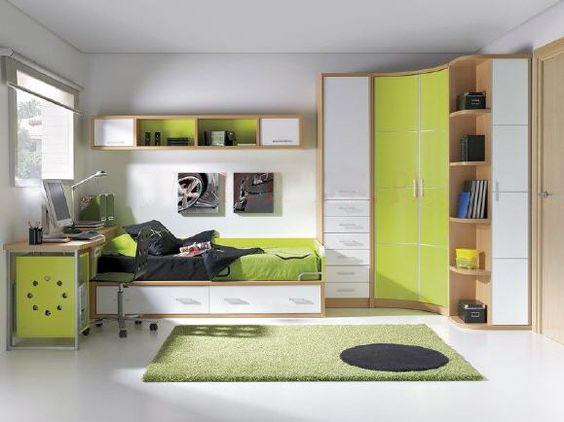 کمد دیواری و تخت سبز و سفید