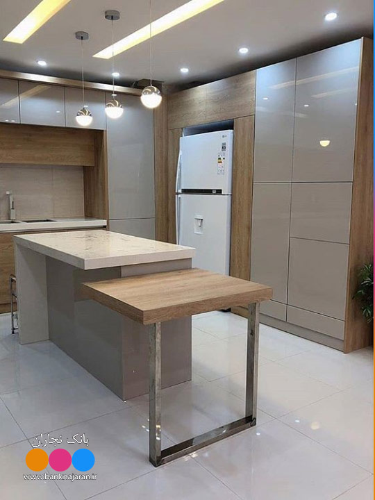 آشپزخانه شیک نسکافه ای طرح چوب 1