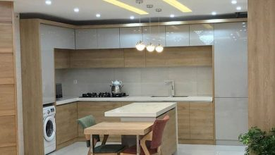 Photo of آشپزخانه شیک نسکافه ای طرح چوب بدون دستگیره ایرانی