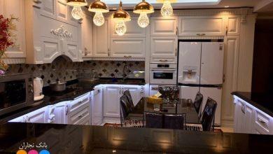 Photo of کابینت آشپزخانه ممبران سفید با صفحه کورین مشکی براق