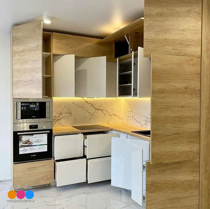 کابینت آشپزخانه کوچک سفید هایگلاس 3