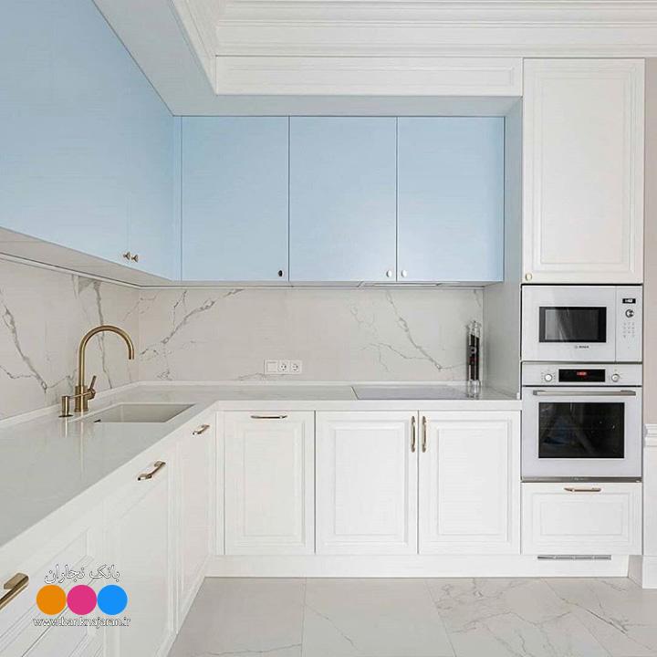 آشپزخانه ایرانی کلاسیک سفید آبی