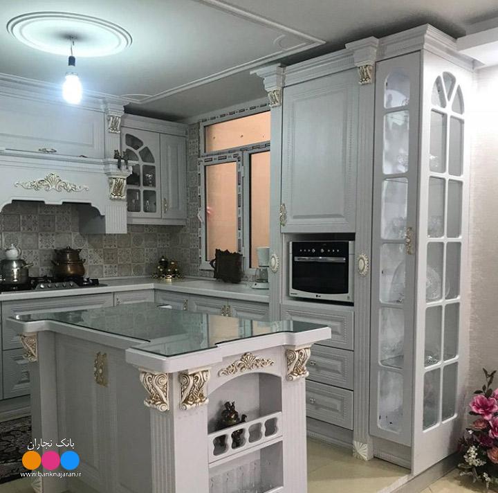 آشپزخانه با کابینت وکیوم طوسی