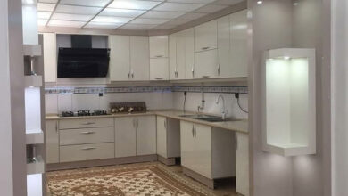Photo of قبل و بعد آشپزخانه ایرانی با کابینت هایگلاس شکلاتی نسکافه ای