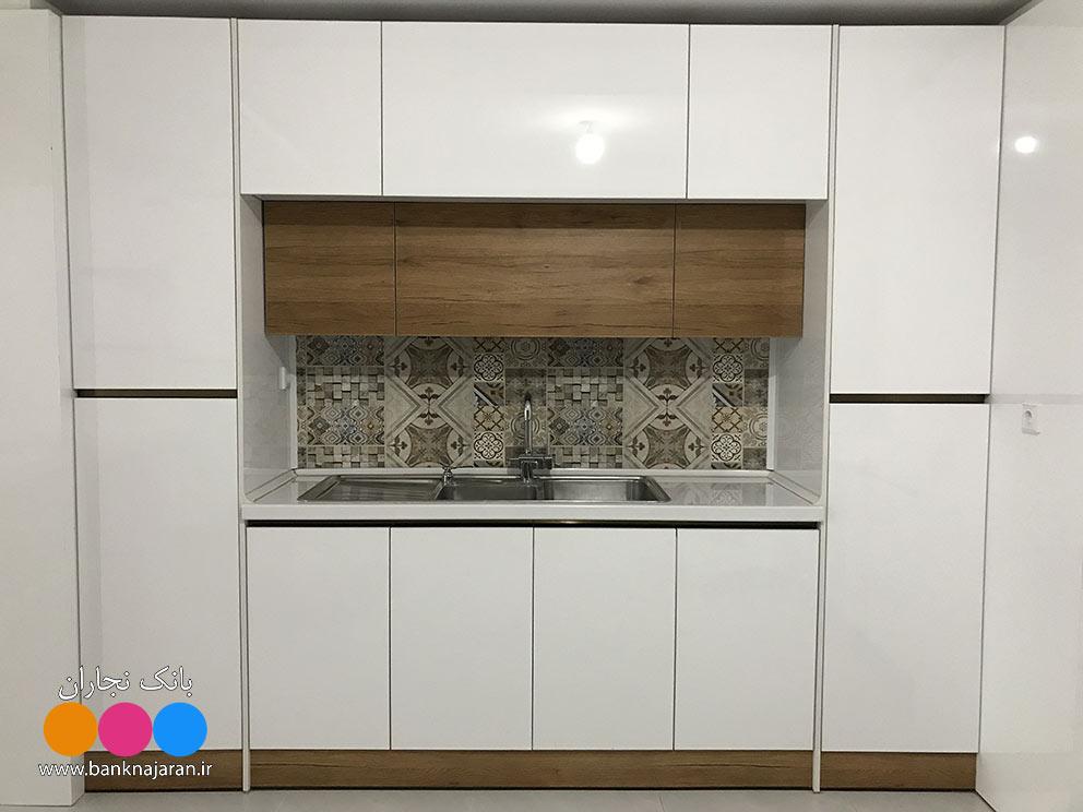 آشپزخانه مینیمال طرح چوب سفید
