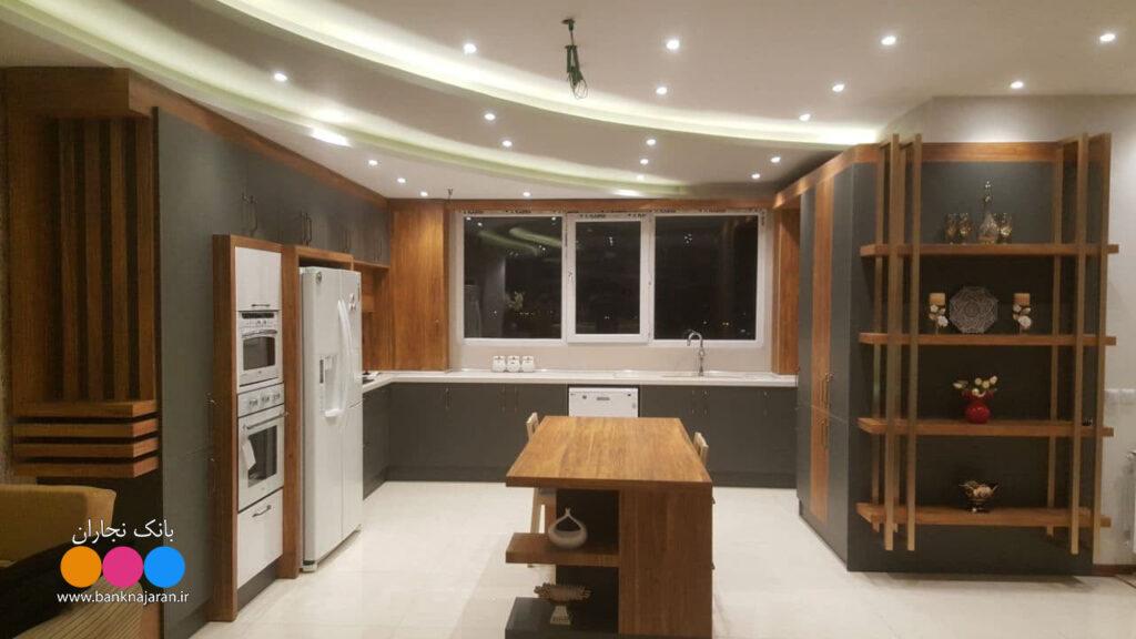 آشپزخانه مدرن ایرانی طوسی طلائی