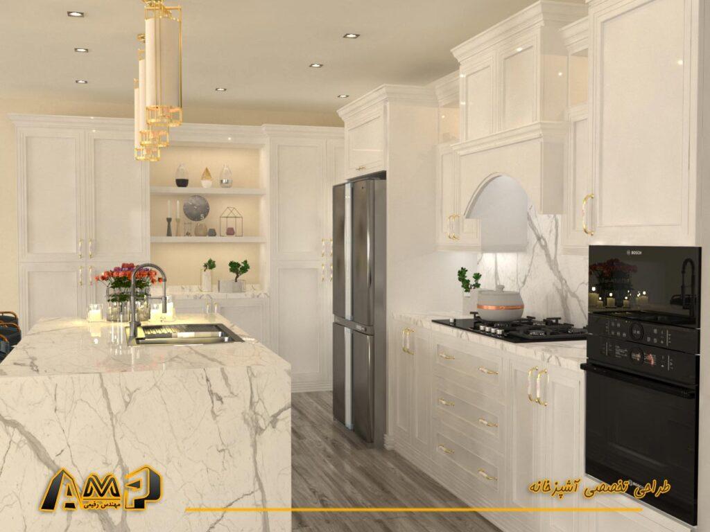 رندر آشپزخانه نئوکلاسیک