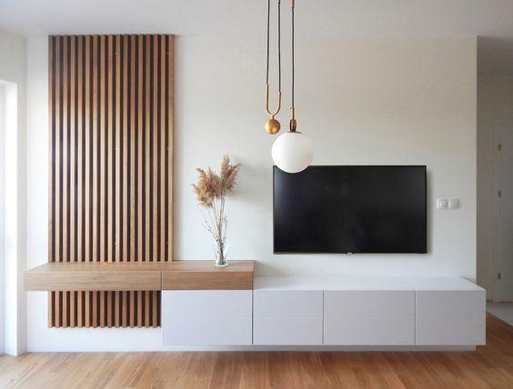 کنسول سفید چوبی تلویزیون